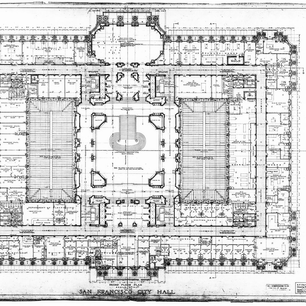 Calisphere second floor plan san francisco city hall drawing no 10 malvernweather Images