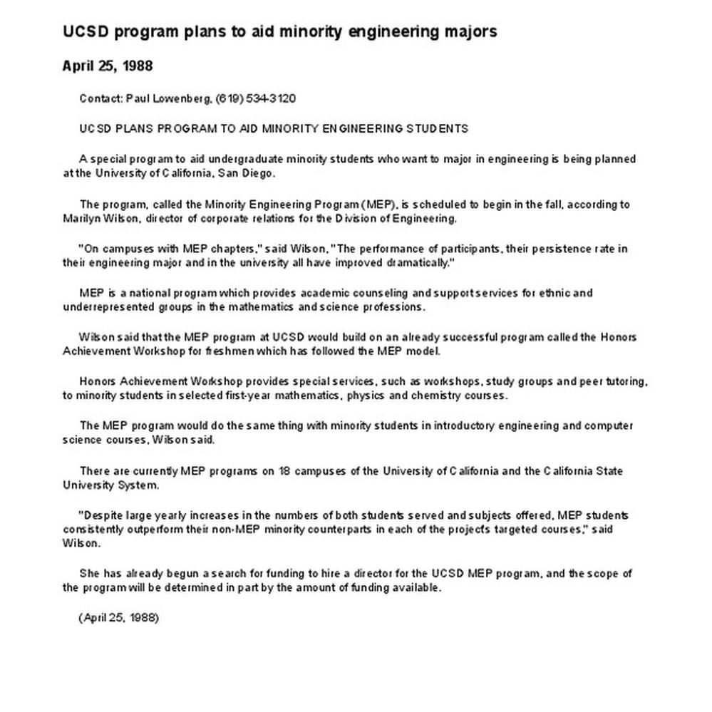 Calisphere: UCSD program plans to aid minority engineering majors