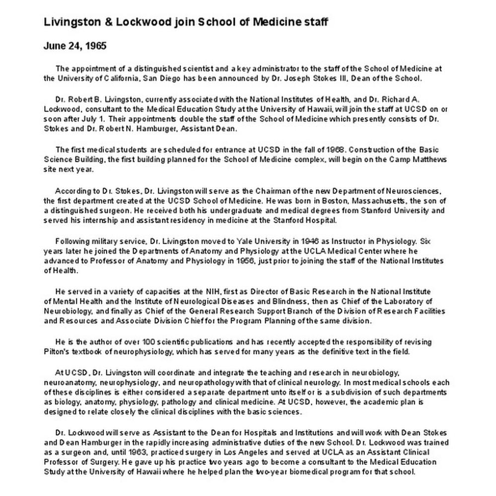 Calisphere Livingston Lockwood Join School Of Medicine Staff