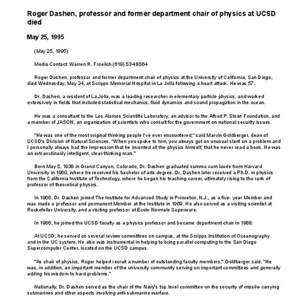 Calisphere: Roger Dashen, professor and former department