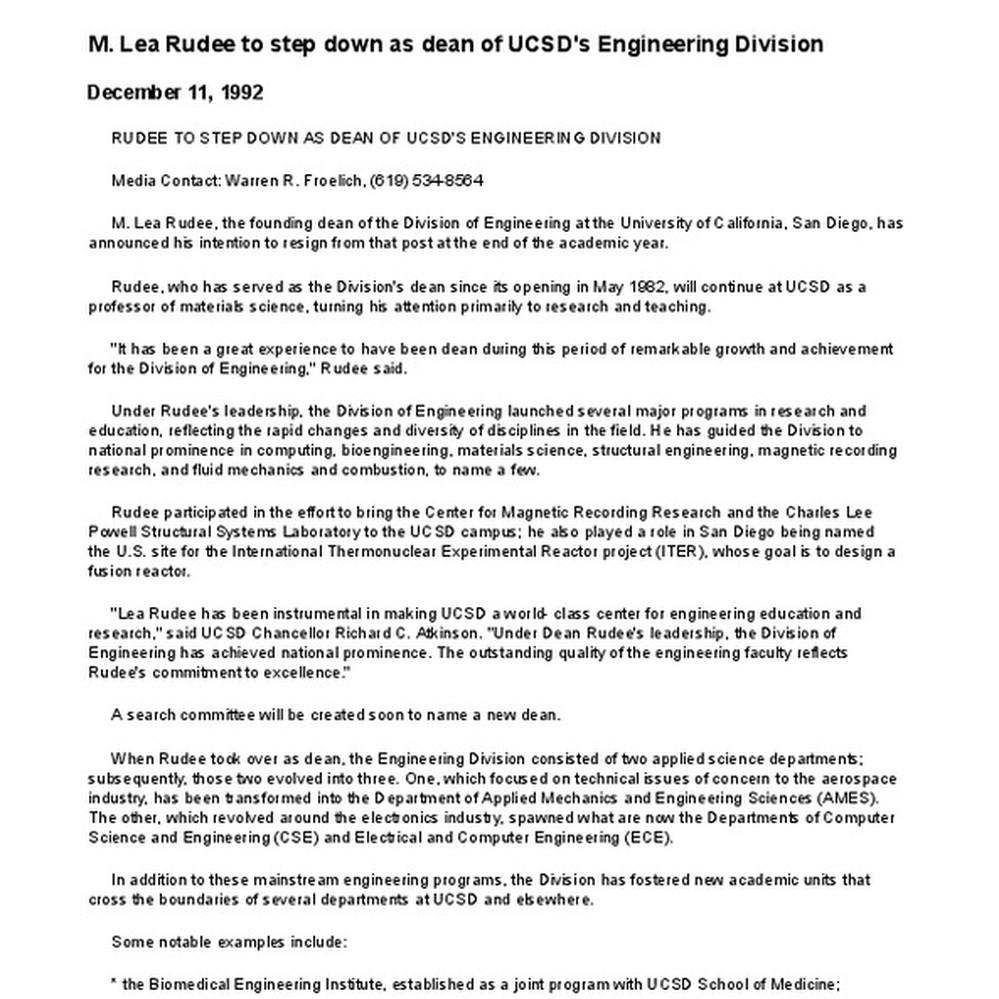 Calisphere: M  Lea Rudee to step down as dean of UCSD's Engineering
