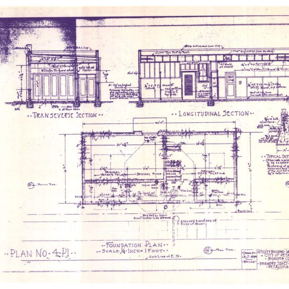 Calisphere blueprints of the walnut park utility building drawn calisphere blueprints of the walnut park utility building drawn by brainerd jones petaluma california 1941 malvernweather Choice Image