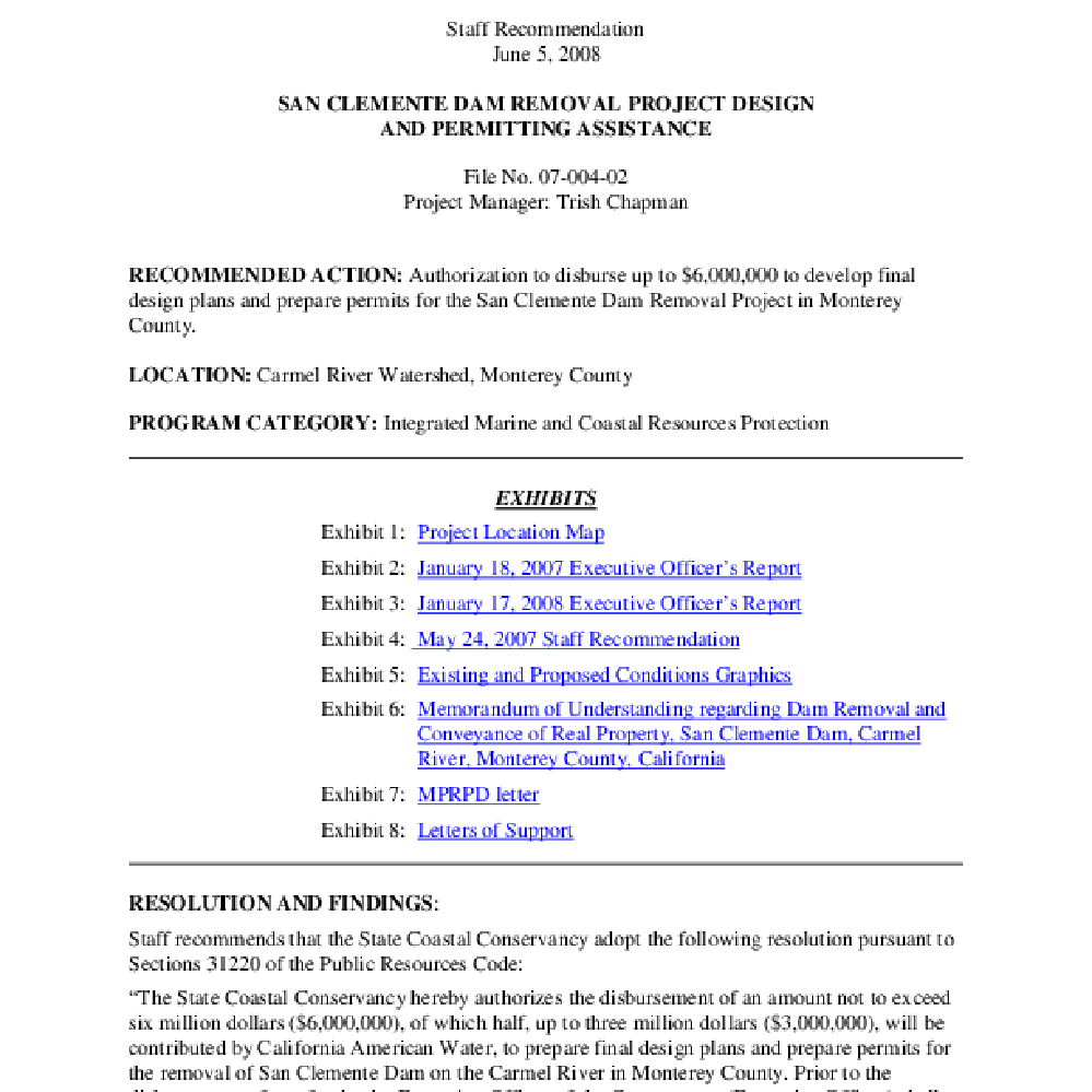 Calisphere: San Clemente Dam Removal Project Design And Permitting