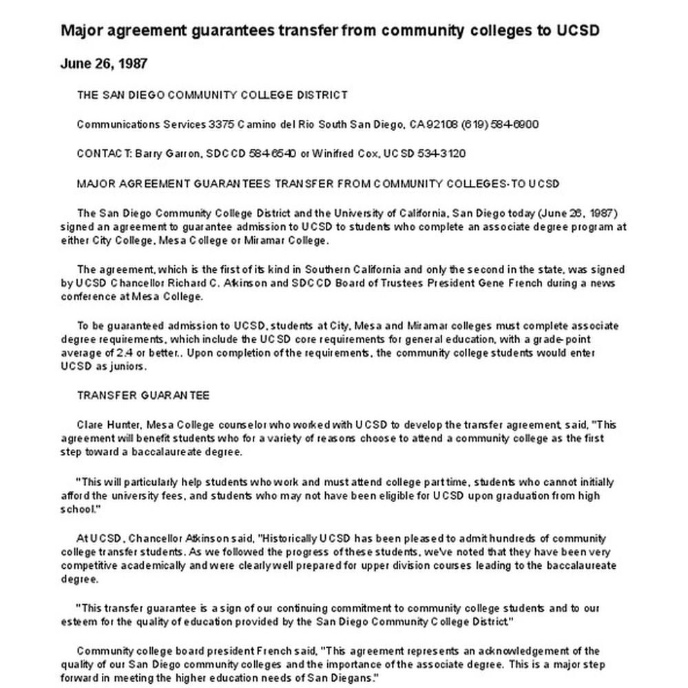 Calisphere Major Agreement Guarantees Transfer From Community