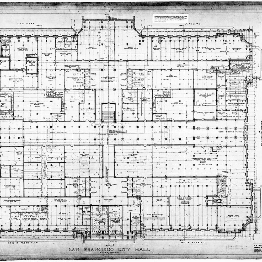 Calisphere ground floor plan san francisco city hall drawing no 7 malvernweather