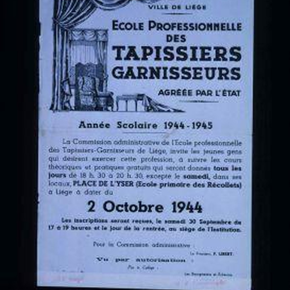 Tapissier Paris 20 ville de liege. ecole professionnelle des tapissiers