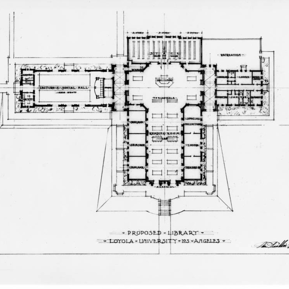calisphere architectural drawing of proposed library floor plan calisphere architectural drawing of proposed library floor plan loyola university of los angeles
