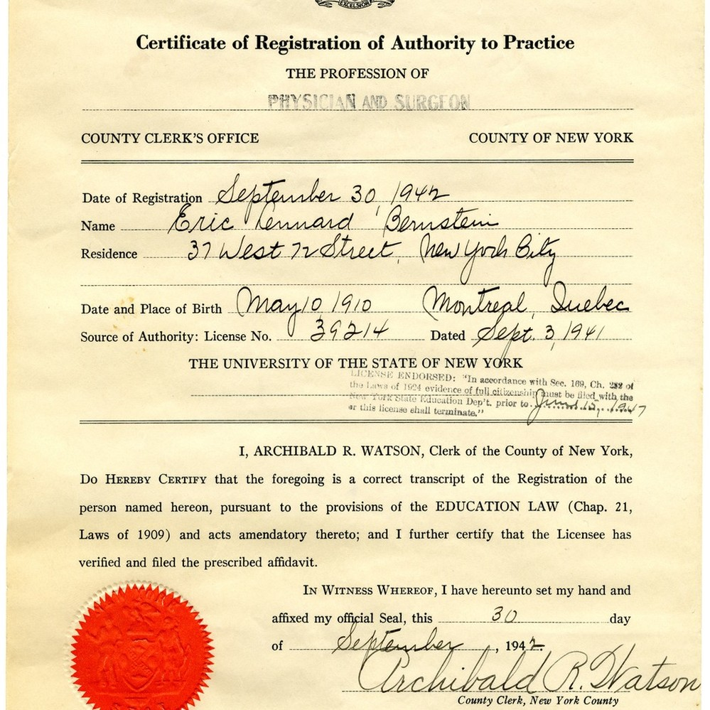 Calisphere: County of New York, Certificate of Registration of ...