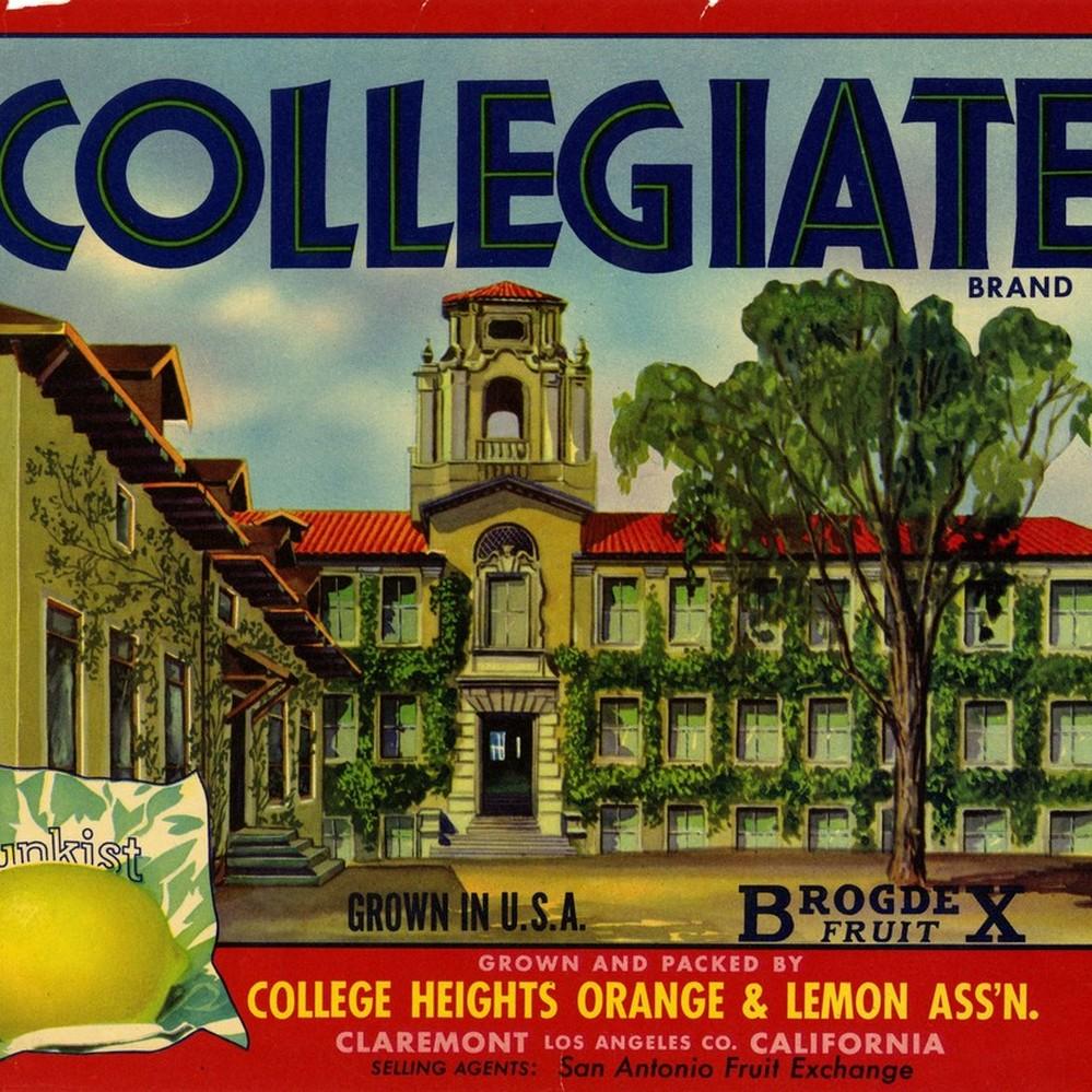 Claremont College Heights Lemon Crate Label Art Print
