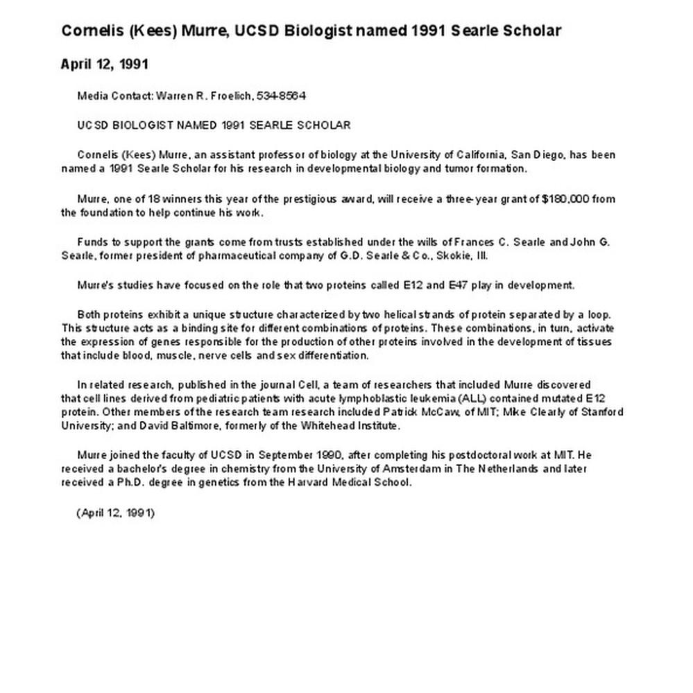 Calisphere: Cornelis (Kees) Murre, UCSD Biologist named 1991