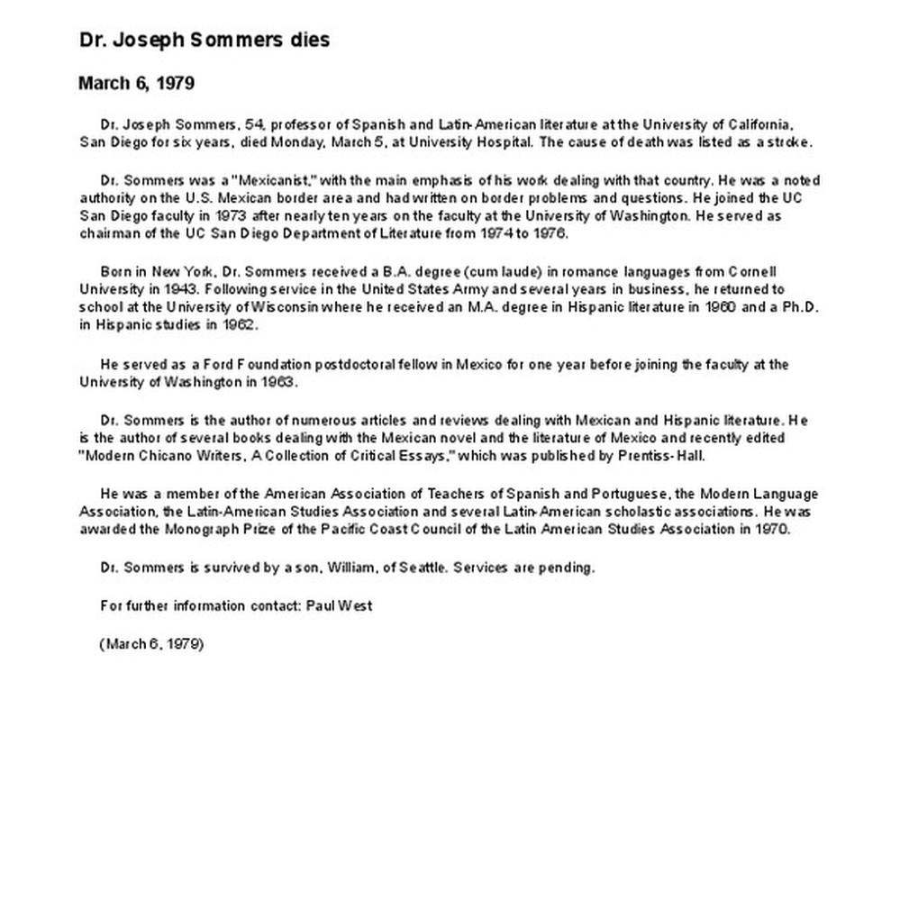 calisphere dr joseph sommers dies
