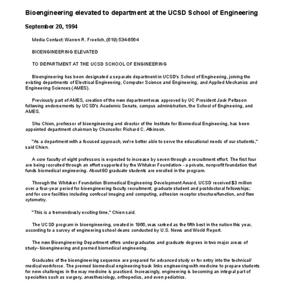Calisphere: Bioengineering elevated to department at the UCSD School