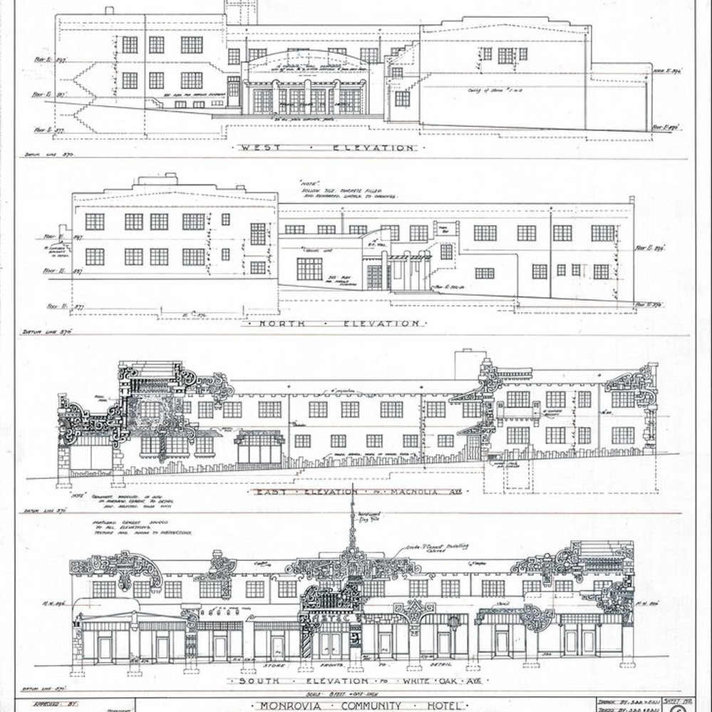 Calisphere: Aztec Hotel: Exterior elevation drawings